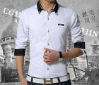Trendy men's clothing shirts cotton leisure long sleeve slim shirt (M-5XL)