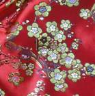golden thread blossom flower satin China red Asian brocade silk fabric gp-610