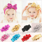 Kids Girl Baby Infant Metallic Bow Flower Elastic Headband Hair Band Accessories