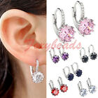 Pair 18K White Gold Plated Cz Crystal Round Flawless Earrings Ear Stud 6 Colors