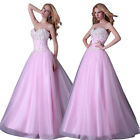 US STOCK~ Long Beaded Evening Bridesmaid Formal Party Gown Bridal Prom Dresses