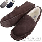 Mens Berber Fleece Lined Moccasin with Non-Slip Rubber Sole