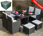 Rattan Dining BLACK CUBE Table 8 Seater Garden Conservatory Furniture FREE COVER
