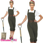 Ladies WW2 Land Girl Costume World War 2 Wartime Outfit 40s Army Fancy Dress