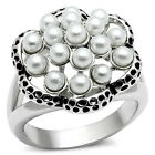 17 Small White Pearl Silver Rhodium EP Ladies Cluster Ring