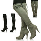 New Womens Ladies Over the Knee Boots Stretch Calf Thigh High Stiletto Heel Size