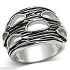 Oval Shaped Holes Silver Rhodium EP No Stone Ladies Ring