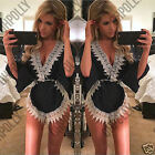 Womens Low V Plunge Festival Party Summer Beach Navy Blue White Short Playsuit