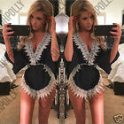 Womens Plunge Neck Playsuit Kimono Batwing Wrap Lace Festival Summer Party Dress