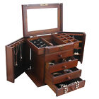 Wooden Jewelry Box Cabinet Armoire Ring Necklacel Gift Storage Box Organizer