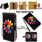 Folio Flip Stand Card Wallet Leather Cover Case For Various HTC Phones + Strap