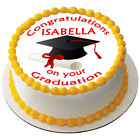 "Congratulations on your Graduation 7.5"" Large Round Icing Cake Topper D1"