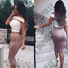 Womens Two Piece Bandeau Bralet and Midi Length Bodycon Skirt Dress Outfit Set