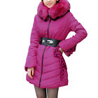 Ladies Chic Faux Fur Decor Movable Hooded Padded Coat w Belt