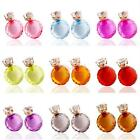 Cute Women Faceted Transparent Crystal Resin Double Side Earrings Two Ball Studs