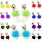 Casual Transparent Crystal Ball Double Sided Earrings Two Ball Pearl Stud CA