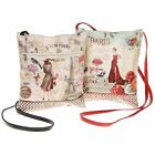 New Ladies Womens Small Flat Shoulder Bag Parisienne French Vintage Style