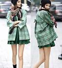 AUTH $1025 RED VALENTINO woven plaid motif cocoon Coat in Jade