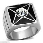 7MM Clear Crystal Stones Star Silver Stainless Steel Black Top Mens Ring
