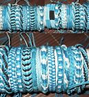BRACELET ANKLET FRIENDSHIP BAND 5 BLUE COTTON HEMP MEN WOMEN BEACH SURF NEW