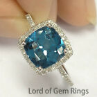 7mm Cushion London Blue topaz Halo Pave Diamonds 14K White Gold Engagement Ring