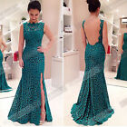 Sexy Women Ladies Backless Sleeveless Bodycon Maxi Gown Lace Long Maxi Dress ID