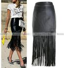 Ladies Women Stretch Bodycon Long Fringed Faux Leather Skirt Pencil Dress Black