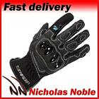 SPADA MOTO Black SHORT LEATHER AND TEXTILE ARMOURED SPORTS MOTORCYCLE GLOVES