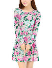 Lady Floral Pattern Elastic Waist Style Casual Dress