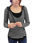 Woman Stripes Layered Slim Fit Casual Hooded Top
