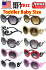Kids Toddler Baby Designer Inspired Round Frame Sunglasses Baroque Swirl Arms