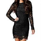Women Round Neck V Back Design Slim Fit Lace Sheath Dress