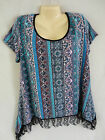 New Aqua Multi Color Boho Shark Bite Lace Hem Tunic Top  1X 2X 3X Womens Plus