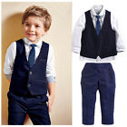 2015 Baby Kids Boys Clothes Suit Tops Shirt Waistcoat Tie Pants Outfits set 1~7Y