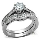 1.85 Ct Round Cut Cz Silver Stainless Steel Wedding Ring Set Women's Size 5-10