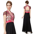 Sexy Open Back Short Sleeve Maxi Party Cocktail Formal Women Dress 09956