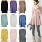 Rare Womens Soft Solid Colour Long Sleeve Casual Sweet Mini Jumper Tops Dress