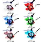 g620m33 Lady Goldfish Flower Lampwork Glass Murano Bead Pendant Necklace Fashion
