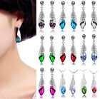 18K GP CZ Crystal Rhinestone Teardrop Dangle Pendant Necklace + Earrings Fashion