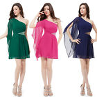 Women's Padded Chiffon Sequins One Shoulder Cocktail Party Formal Dress 03613