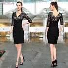 3/4 Sleeve Double V-neck Lace Ruched Party Cocktail Casual Dress 03783