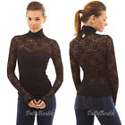 PattyBoutik Polo Neck Sweetheart Inset Long Sleeve Sheer Lace Blouse