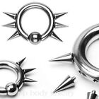 1pc. 6g, 4g Steel Snap-In Captive Bead Ring with 6 Internally Threaded Spiked
