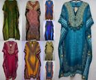 Women's Caftan Maxi DRESS BOHO Kaftan Zebra Abstract SATIN M L 1X 2X 3X 4X 5X 6X