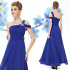 Stylish Sapphire Blue One Shoulder Long Evening Formal Party Dress 08118