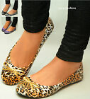 Womens Ballerina Ballet Dolly Pumps Ladies Leopard Print Bow Flat Shoes Size UK