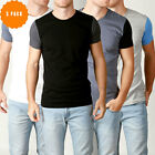 New Mens Basic Crew Neck T Shirt Slim Fit Cotton Premium Slim Fit Tees 3 Pack CT