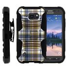 For Samsung Galaxy S6 Active Rugged Holster Belt  Stand Case GRAY BROWN PLAID