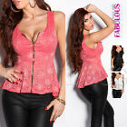 Sexy Womens European Lace Top Size 6 8 10 Peplum High Low Blouse Shirt XS S M