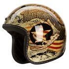 "IV2 Retro 3/4 Style ""ANTIQUE"" Design, High Gloss, Retro Motorcycle Helmet [DOT]"